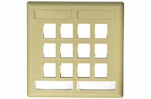 Hubbell IFP212EI 12 port keystone wall mount faceplate electric ivory