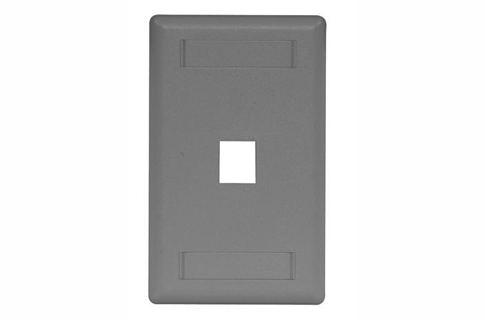Hubbell IFP11GY 1 port keystone wall mount faceplate grey