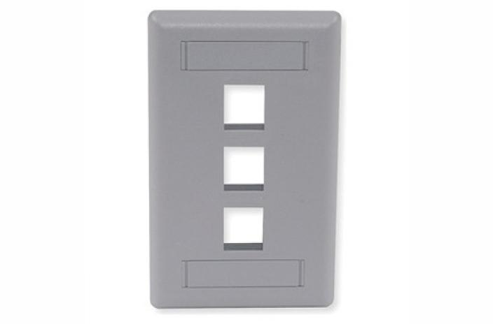 Hubbell IFP13GY 3 port keystone wall mount faceplate grey