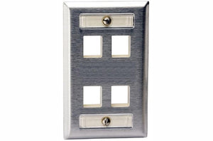 Hubbell SSFL14 4 port keystone wall mount faceplate stainless steel