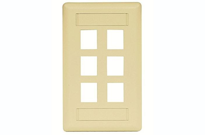 Hubbell IFP16EI 6 port keystone wall mount faceplate electric ivory