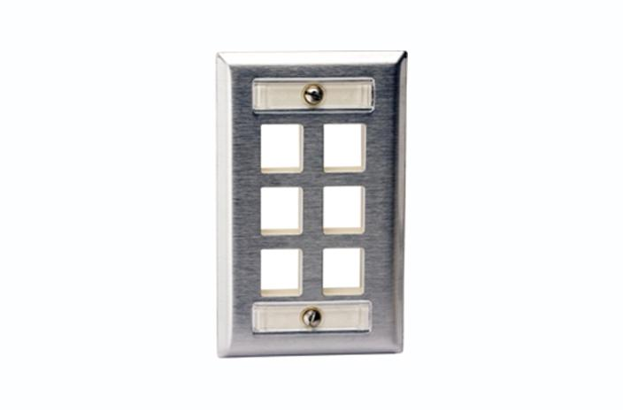 Hubbell SSFL16 6 port keystone wall mount faceplate stainless steel