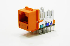 Hubbell HXJ5EOR RJ45 Ethernet Cat5e orange keystone jack