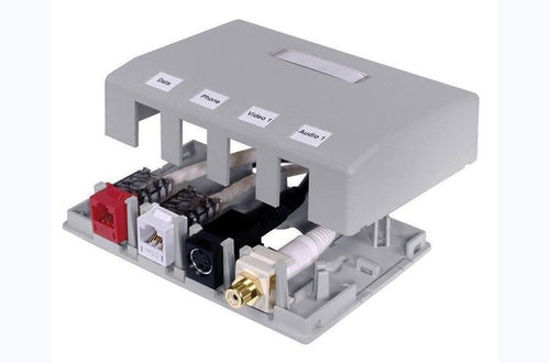 Hubbell ISB4GY 4 port keystone surface mount box grey