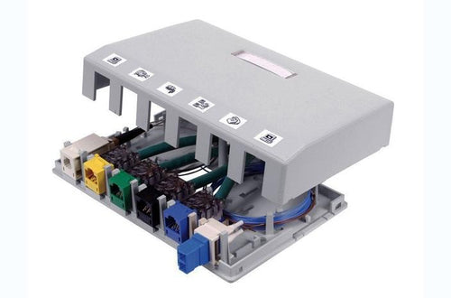 Hubbell ISB6GY 6 port keystone surface mount box grey
