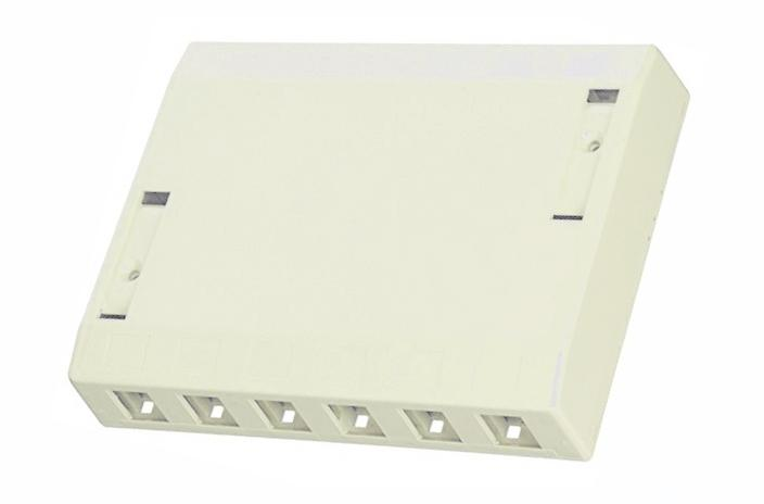 Hubbell ISB12OW 12 port keystone surface mount box office white