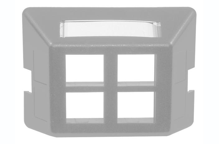 Hubbell FP4GY 4 port keystone furniture mount faceplate grey