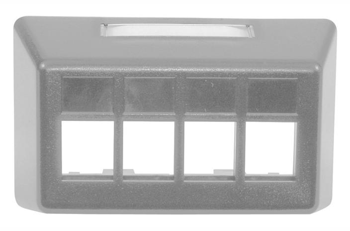 Hubbell FP4BGY 4 port keystone furniture mount faceplate grey