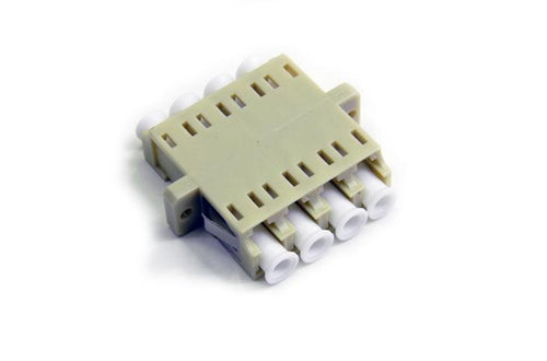 Datcom Realm LC SM/MM female to female beige quad adapter.