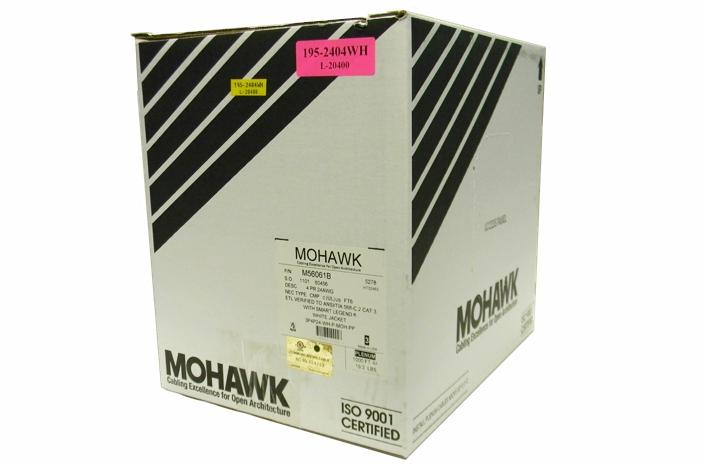 Mohawk M56061B Cat3 4 pair UTP white plenum ethernet cable