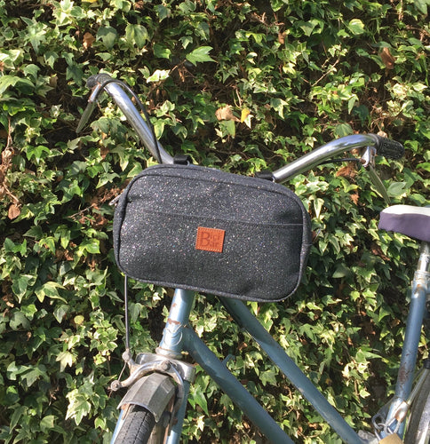 Bike Pack Handlebar Black and Glitter canvas