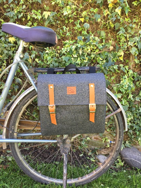 Bicycle Pannier black and glitter canvas