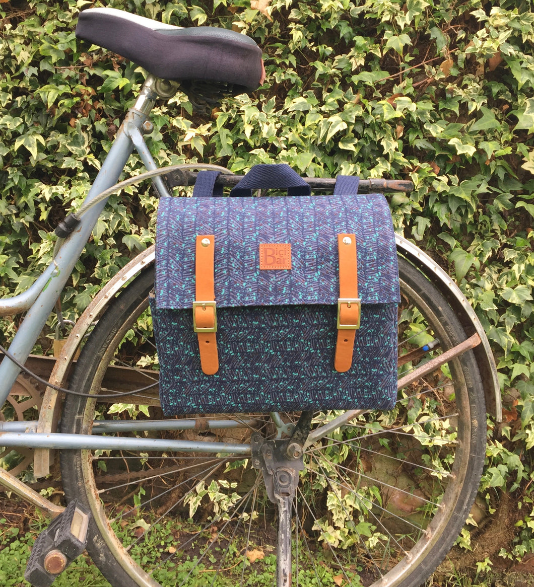 Bicycle Pannier blue wheat canvas