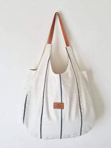 XXL Miramar Rustic cotton beach bag/ Wide Navy Stripes