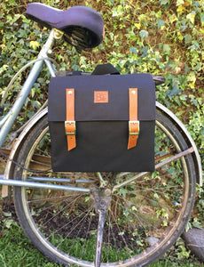 Bicycle Pannier in canvas and leather