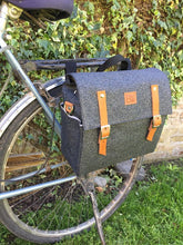 Load image into Gallery viewer, Bicycle Pannier black and glitter canvas
