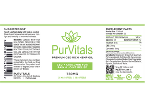PurVitals CBD Hemp Oil Softgel Capsules with Curcumin 25 mg