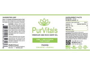 PurVitals CBD Hemp Oil Softgel Capsules with Melatonin 25 mg