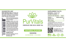 Load image into Gallery viewer, PurVitals CBD Hemp Oil Tincture 1000 mg