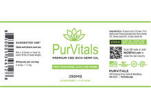 Load image into Gallery viewer, PurVitals CBD Hemp Oil Pet Tincture 250 mg