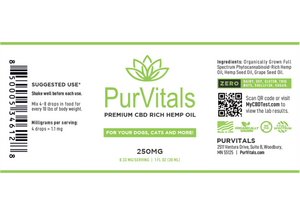PurVitals CBD Hemp Oil Pet Tincture 250 mg