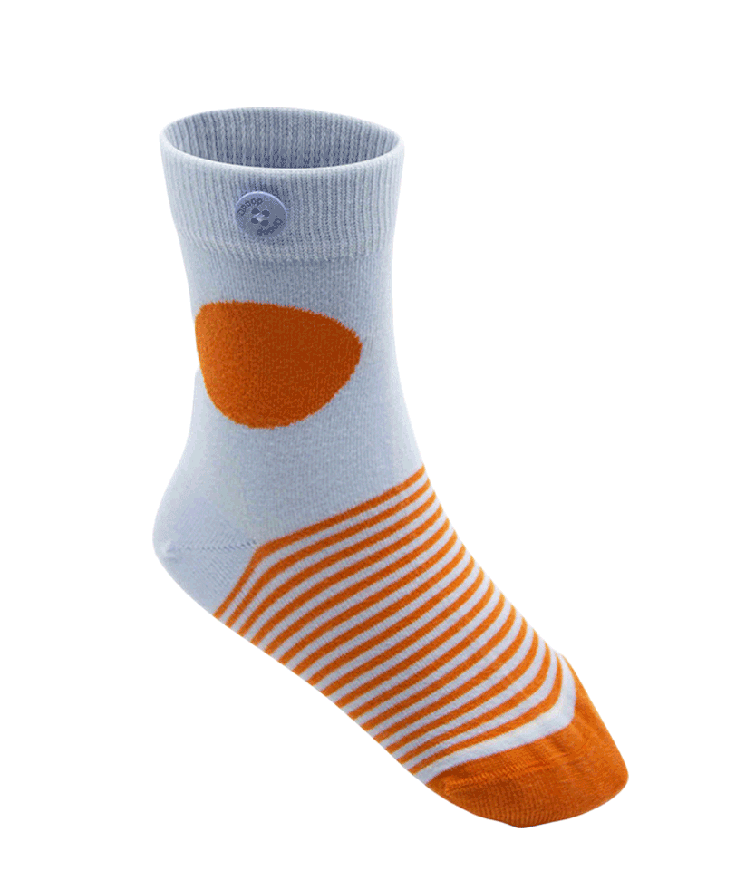 Qnoop Kids Organic Socks Stripes Light Blue Orange