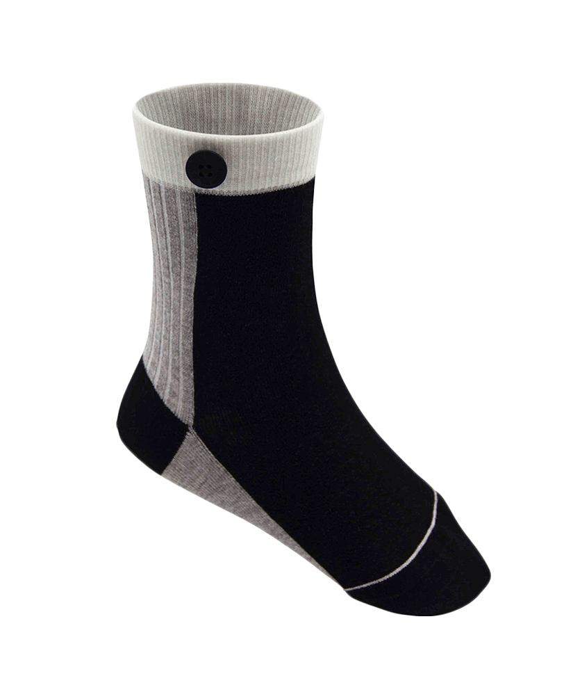 Qnoop Kids Organic Socks Basic Block Black Grey