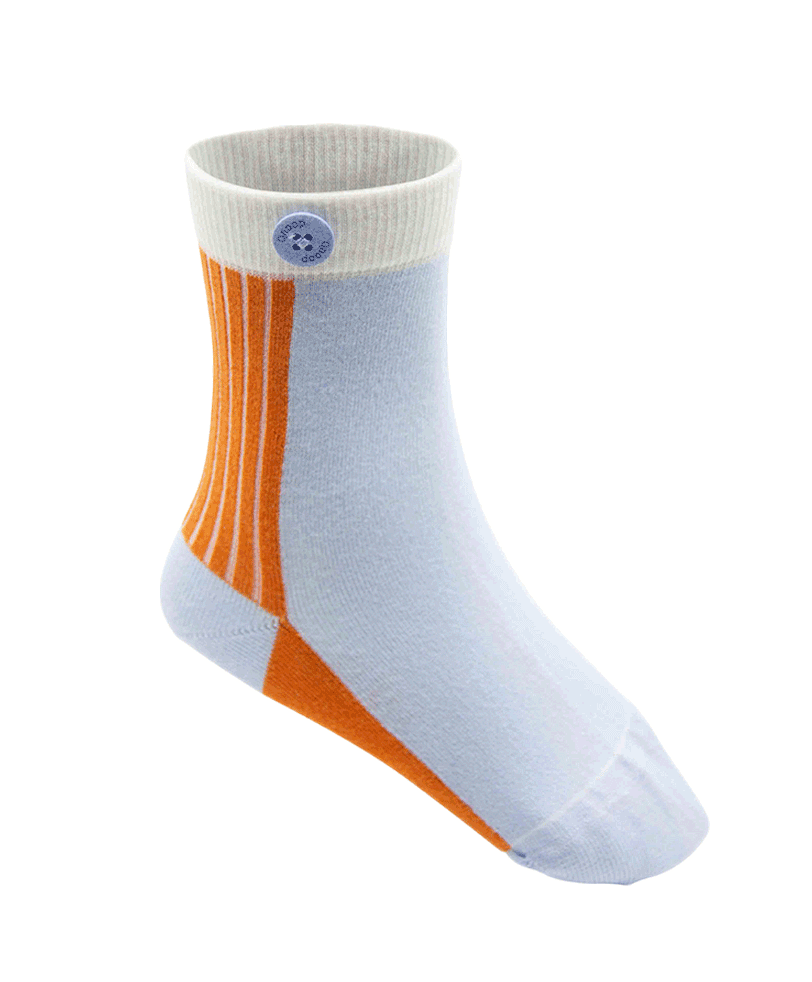 Qnoop Kids Organic Socks Basic Block Blue Orange