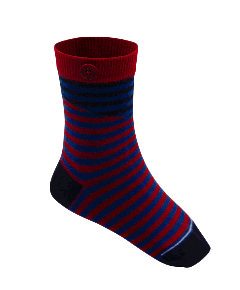 Qnoop Kids Organic Socks Cut Stripe Red Blue