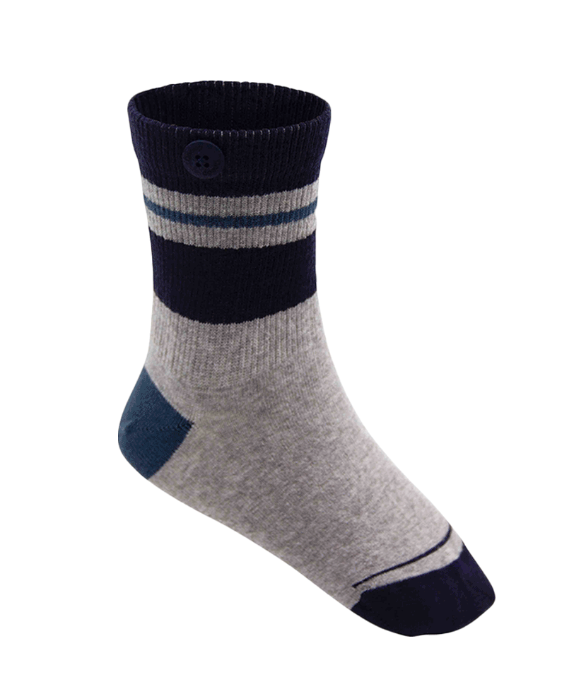 Qnoop Kids Organic Socks Skate Stripe Grey