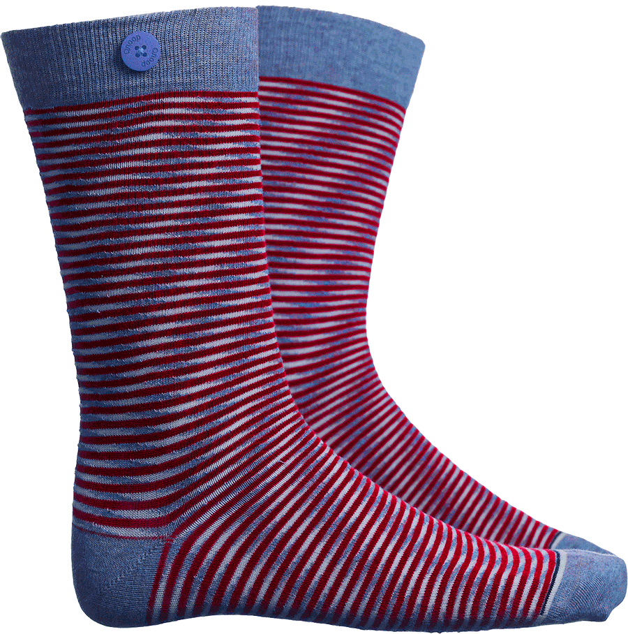 Qnoop Mens Organic Socks Soto Stripe in Blue Red