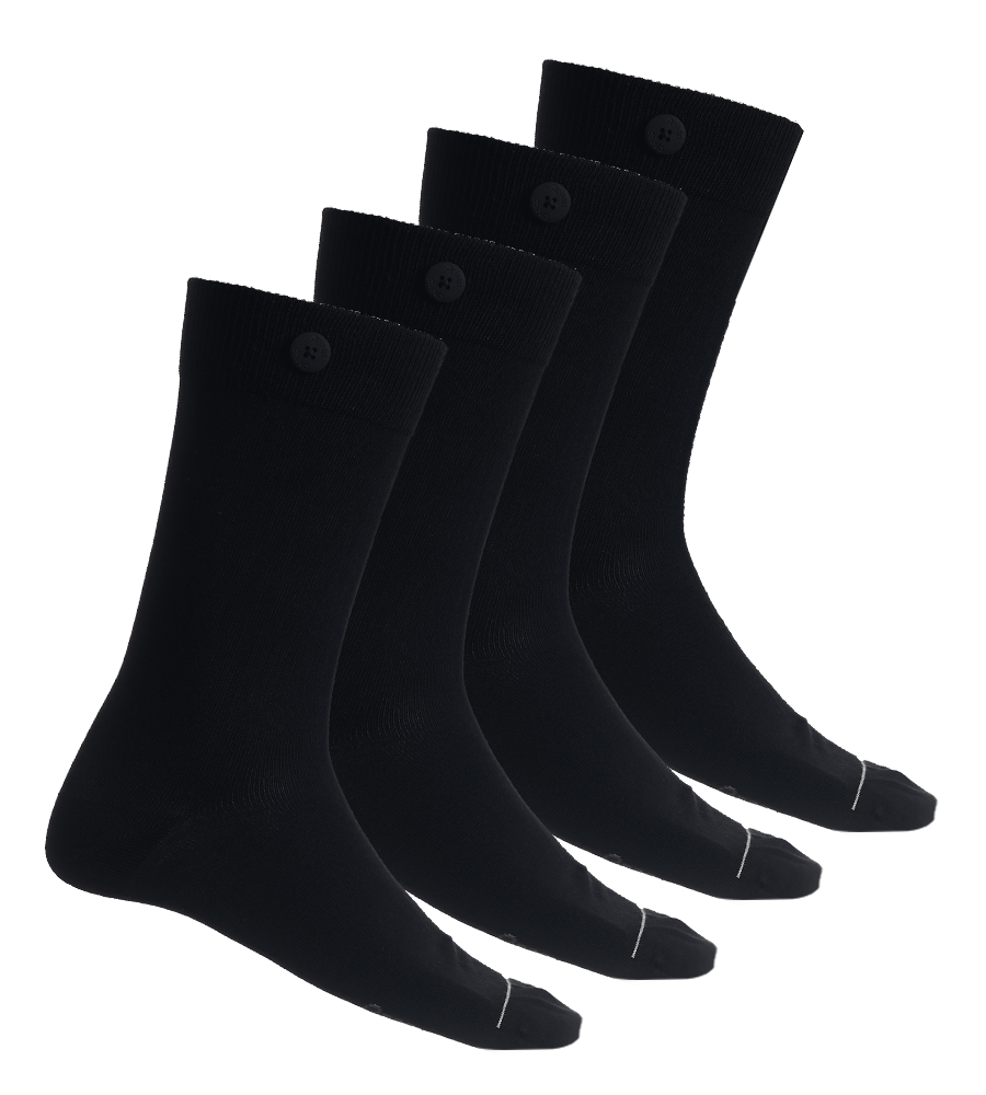 4 Pack Bundle - Solid Socks-Black - QNOOP