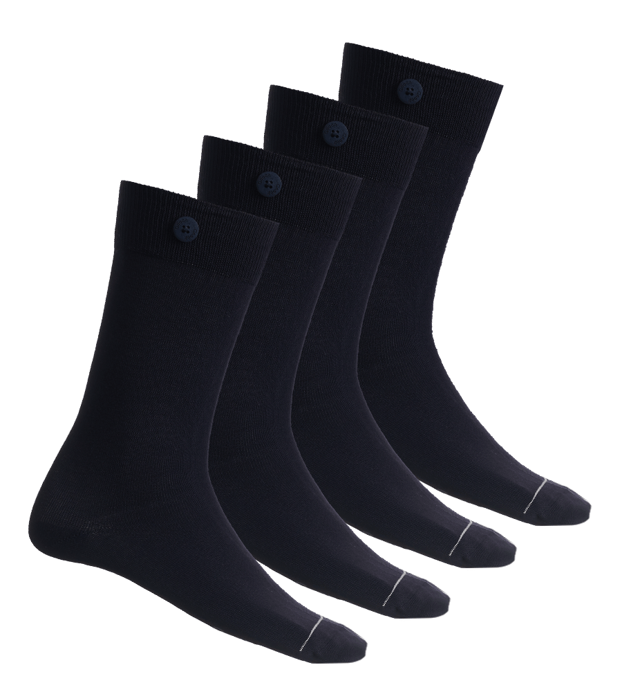 4 Pack Bundle - Solid Socks-Navy - QNOOP