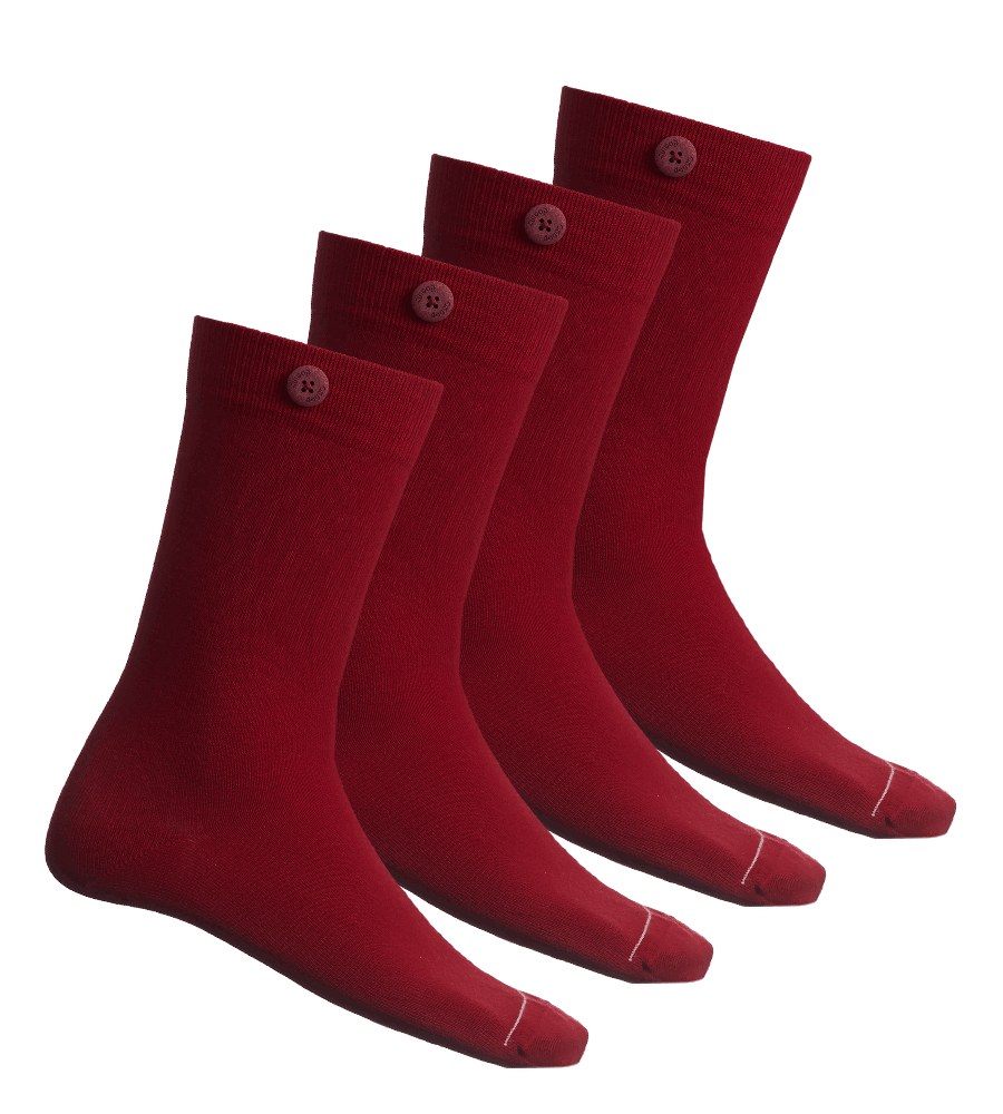 4 Pack Bundle - Solid Socks- Red - QNOOP