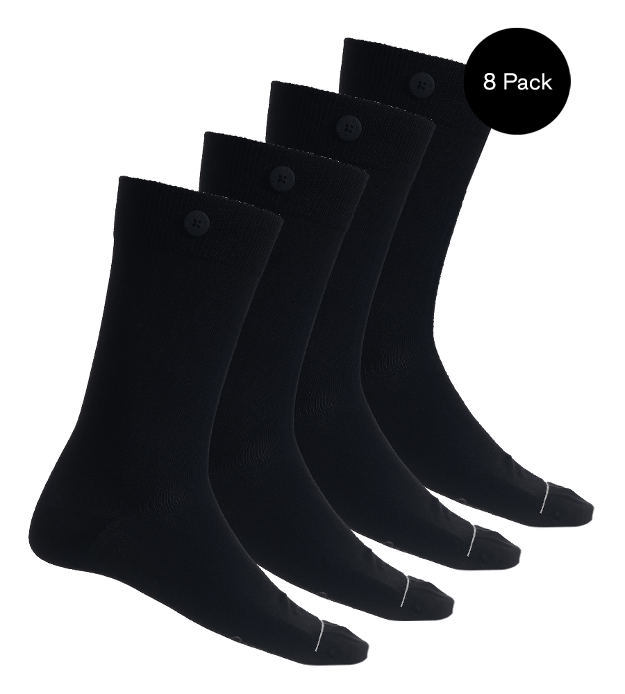 8 Pack Bundle - Solid Socks- Black - QNOOP