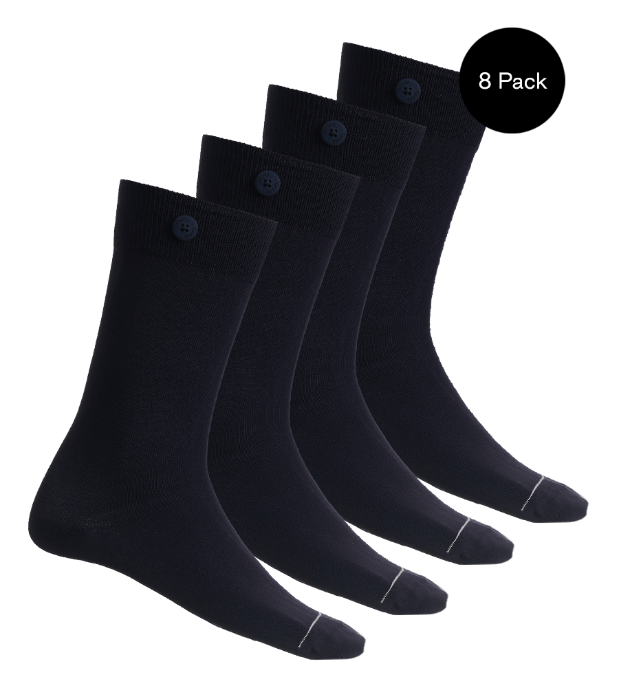 8 Pack Bundle - Solid Socks- Navy - QNOOP