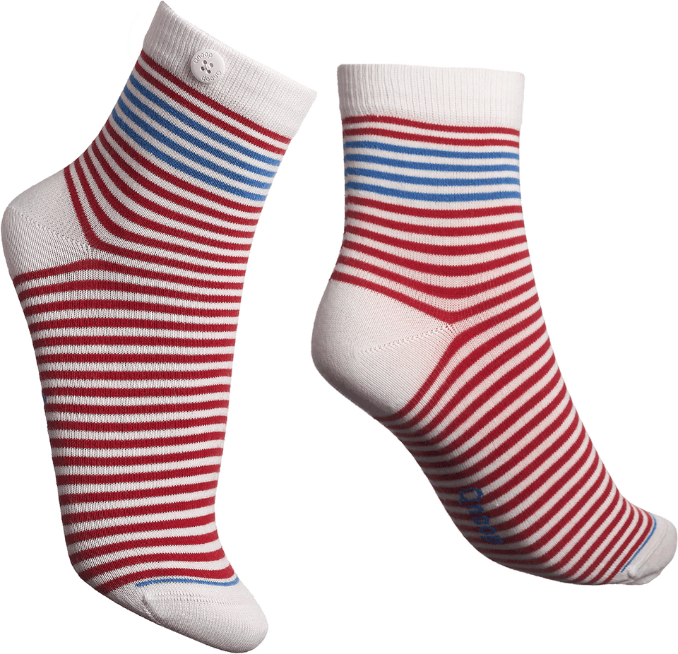 Qnoop Organic Chamois Striped Socks in Red