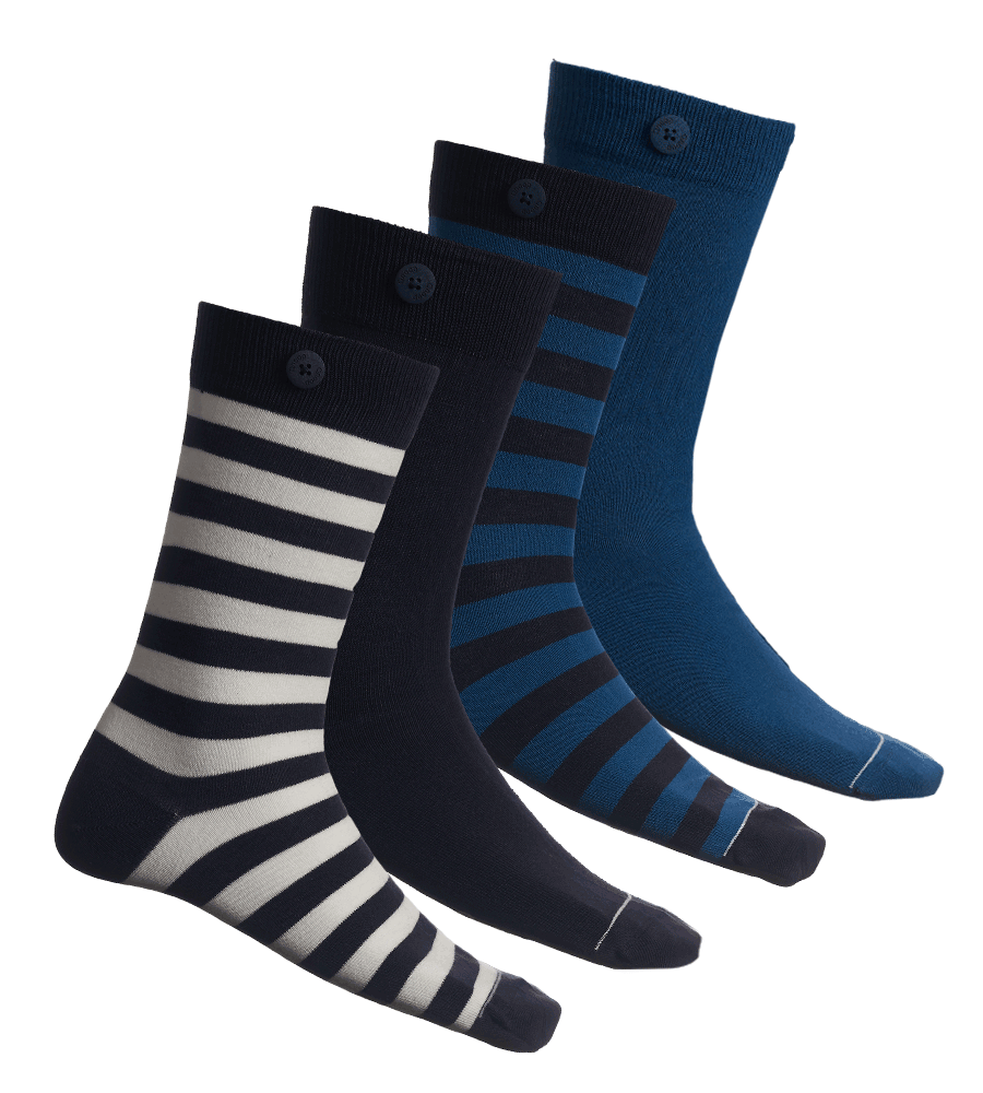 4 Pack Bundle - Stripes and Solids - Navy and Blue - QNOOP
