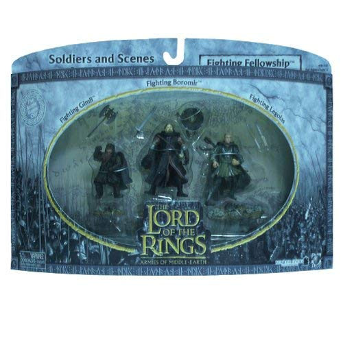 2004 - New Line / Play Along - Lord of the Rings : Armies of Middle Earth - Fighting Fellowship w/ Gimli / Boromir / Legolas - Soldiers & Scenes - Battle Scale Figures - Out of Production - Limited Edition - Collectible