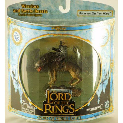2004 - New Line / Play Along - Lord of the Rings : Armies of Middle Earth - Morannon Orc on Warg - Warriors & Battle Beasts - Battle Scale Figures - Very Rare - Out of Production - Limited Edition - Collectible
