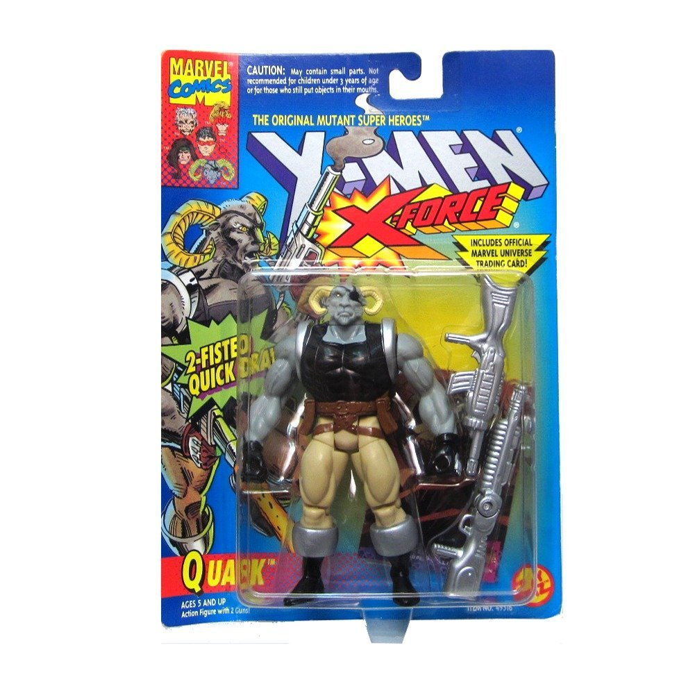 Quark Action Figure - X-Men / X-Force Series - 2 Fisted Quick Draw - Trading Card - Toy Biz - Marvel - Limited Edition - Collectible