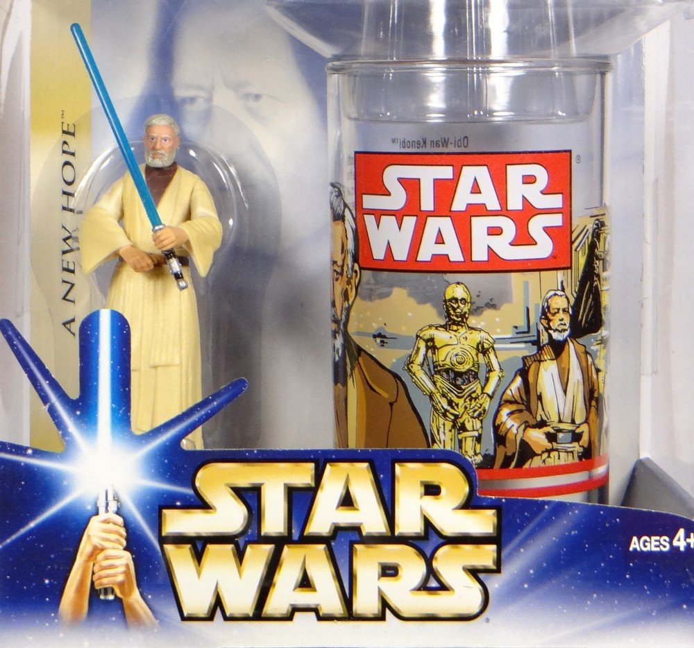 Star Wrs A New Hope Obi Wan Kenobi Collectible Figure and Cup