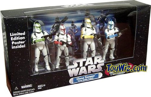 Star Wars Clone Trooper Army Builder 4 pack Colored with Battle Damage