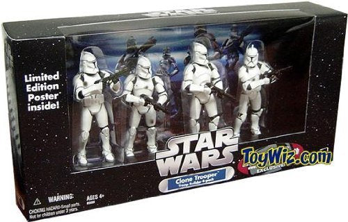 Star Wars Clone trooper 4-pack white exclusive w/battle damage Rare!!