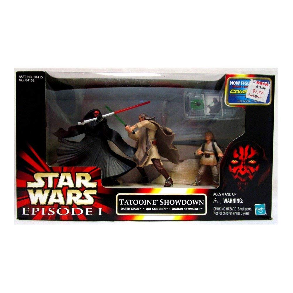 "Star Wars Episode 1 "" Tatooine Showdown "" Darth Maul. Qui=Gon-Jinn & Anakin Mib"