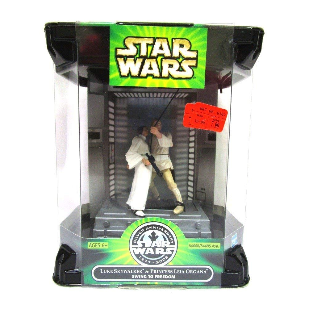 "Star Wars ""Swing to Freedom "" Luke & Leia 1977 - 2002 Silver Anniversary Movie Scene Action Figure Set"