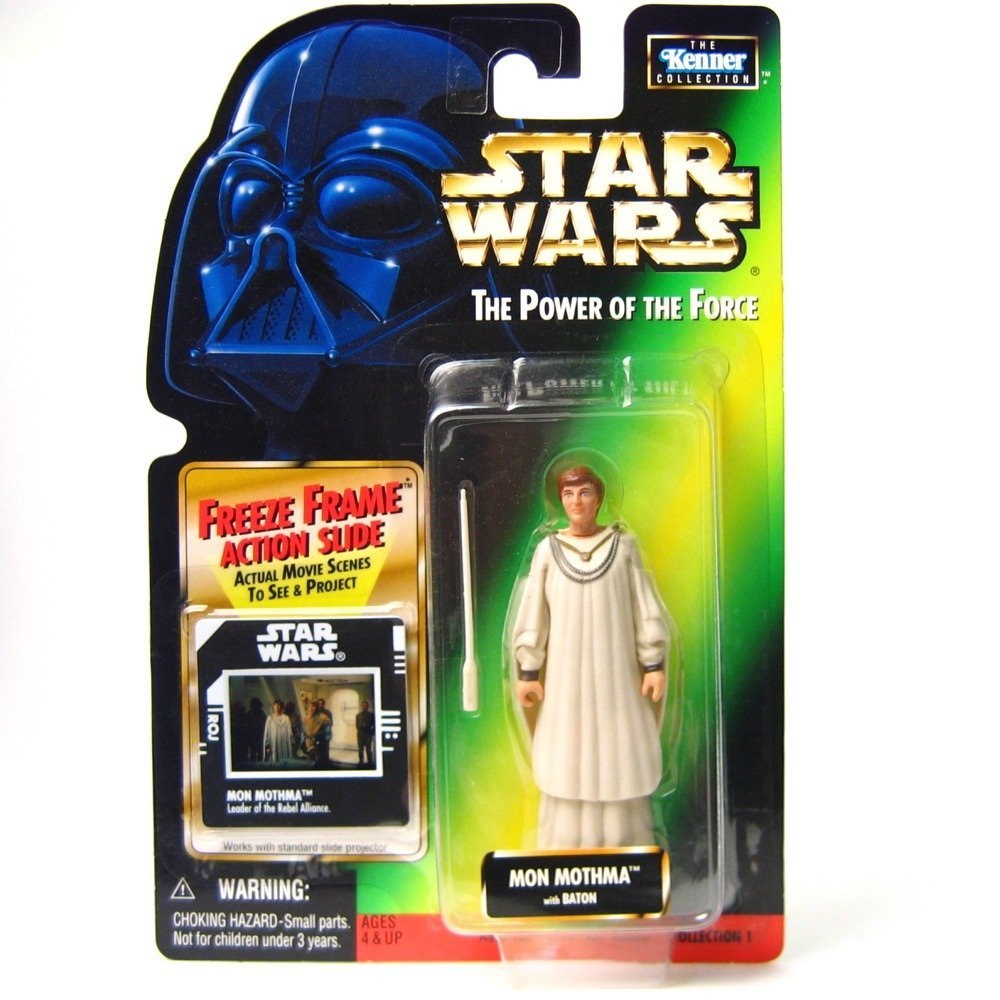 Star Wars, The Power of the Force Green Card, Mon Mothma Action Figure with Freeze Frame Slide, 3.75 Inches.