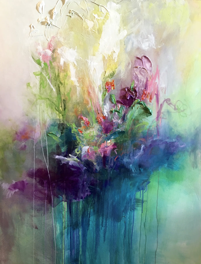 Lilac Bam 48x60 in, Mixed Media