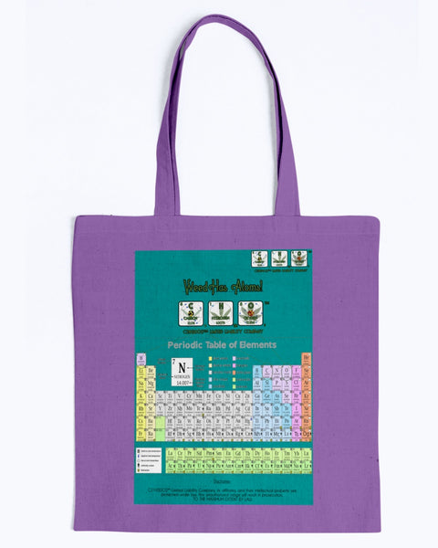 Weed Has Atoms! with Periodic Table Unisex Universal Tote bag with Teal Background