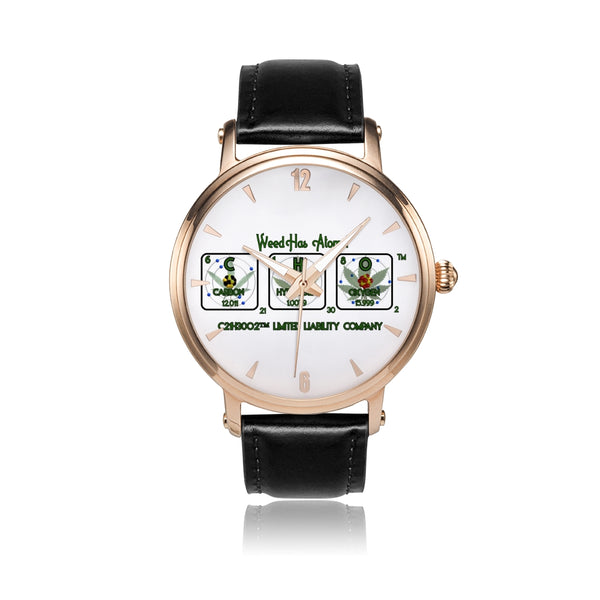 Weed Has Atoms! Water Resistant Watch with Rose Gold Watch Face, 20 ATM - 20 BAR - 200 Meters